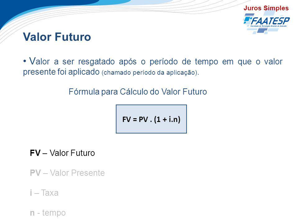 Juros Simples Valor Futuro. Valor a ser resgatado após o período de tempo em que o valor presente foi aplicado (chamado período da aplicação).