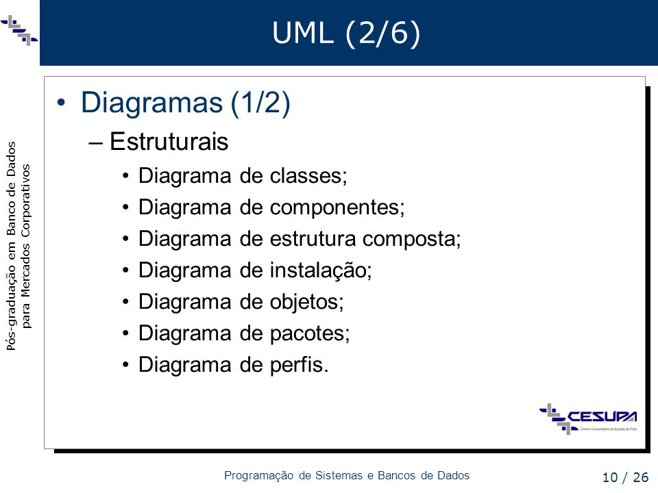 UML (2/6) Diagramas (1/2) Estruturais Diagrama de classes;