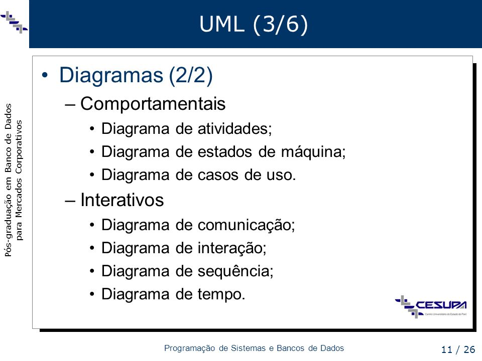 UML (3/6) Diagramas (2/2) Comportamentais Interativos