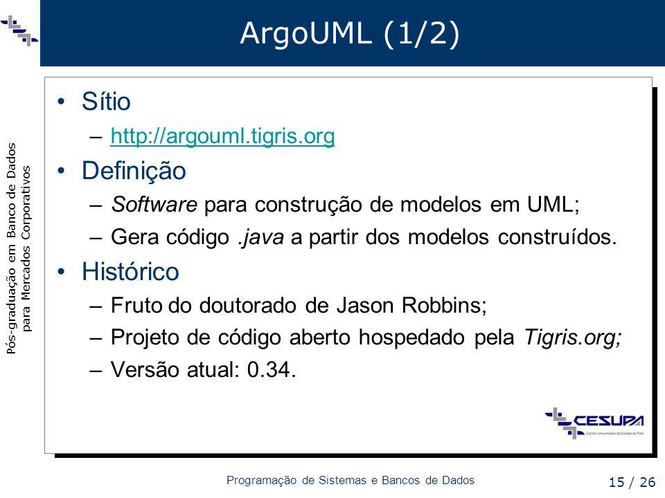 ArgoUML (1/2) Sítio Definição Histórico http://argouml.tigris.org