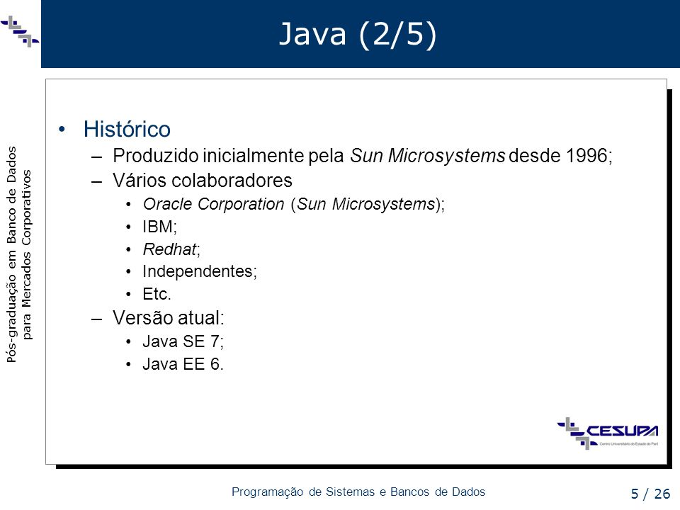 Java (2/5) Histórico. Produzido inicialmente pela Sun Microsystems desde 1996; Vários colaboradores.