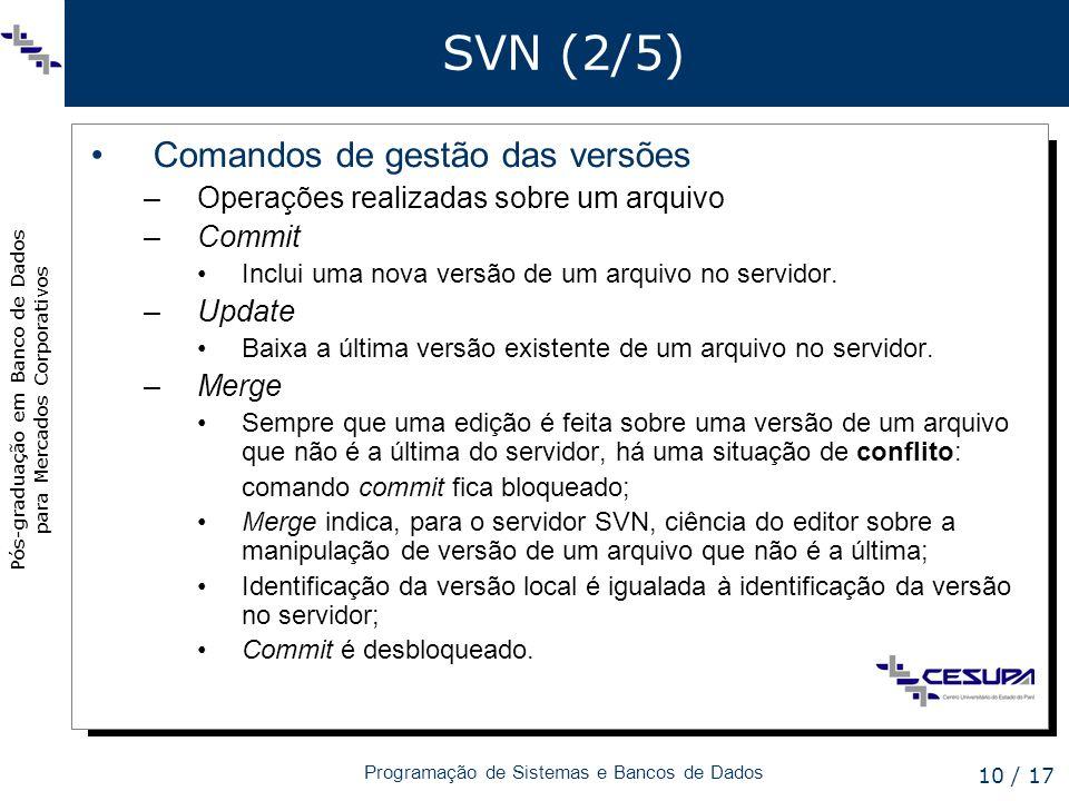 SVN (2/5) Comandos de gestão das versões