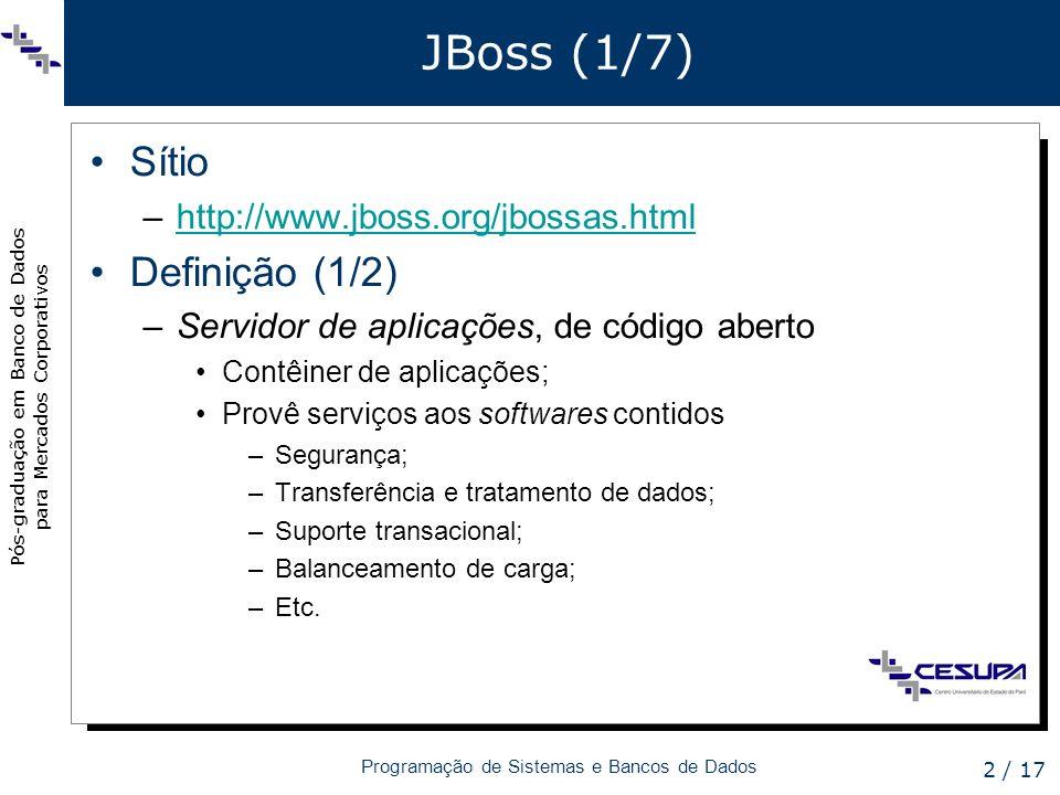JBoss (1/7) Sítio Definição (1/2) http://www.jboss.org/jbossas.html