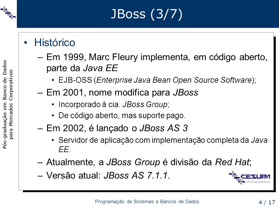 JBoss (3/7) Histórico. Em 1999, Marc Fleury implementa, em código aberto, parte da Java EE. EJB-OSS (Enterprise Java Bean Open Source Software);