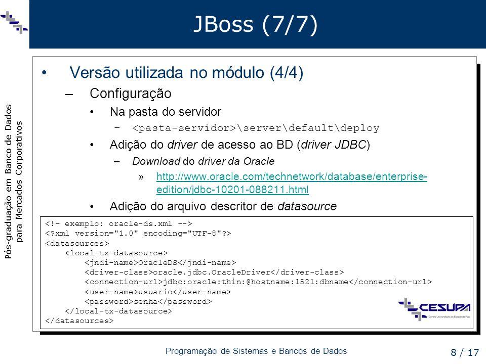 JBoss (7/7) Versão utilizada no módulo (4/4) Configuração