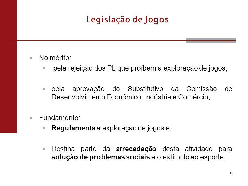 Legislação de Jogos No mérito: