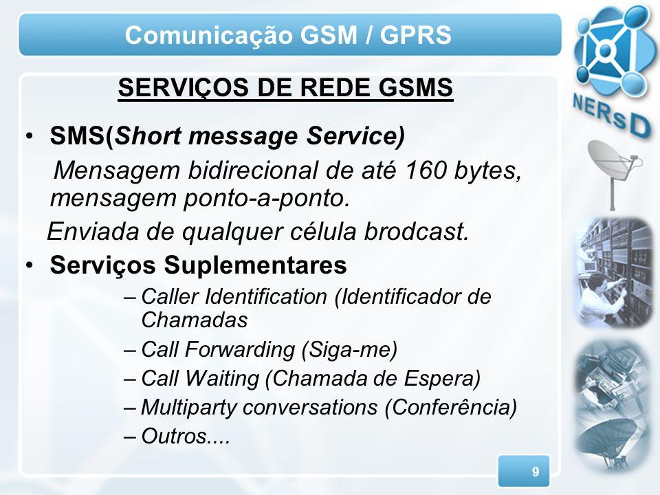 Comunicação GSM / GPRS SERVIÇOS DE REDE GSMS