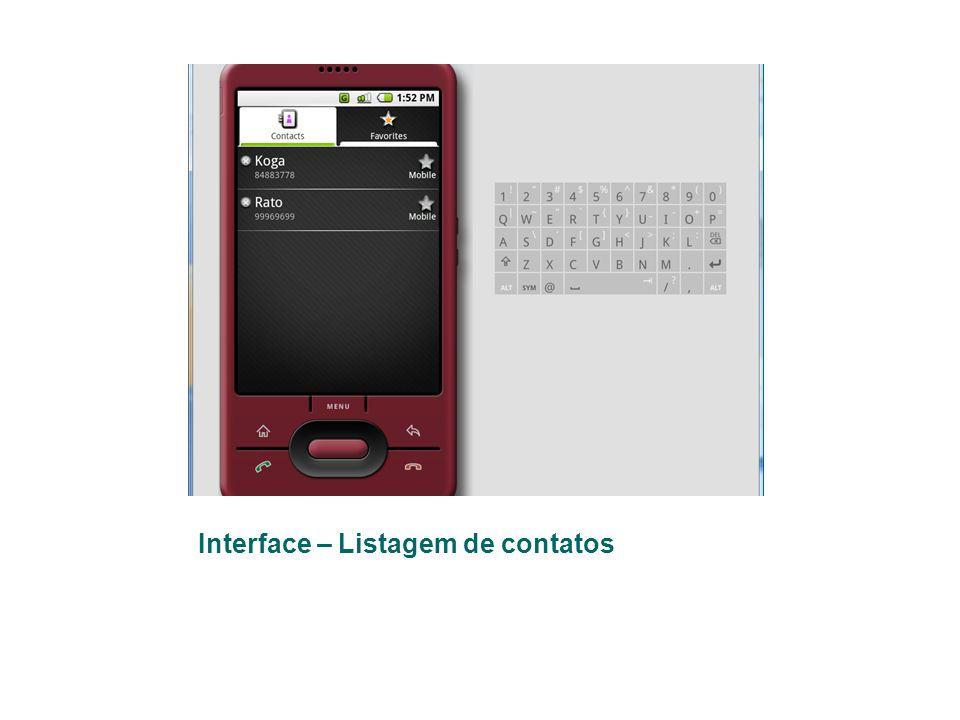 Interface – Listagem de contatos