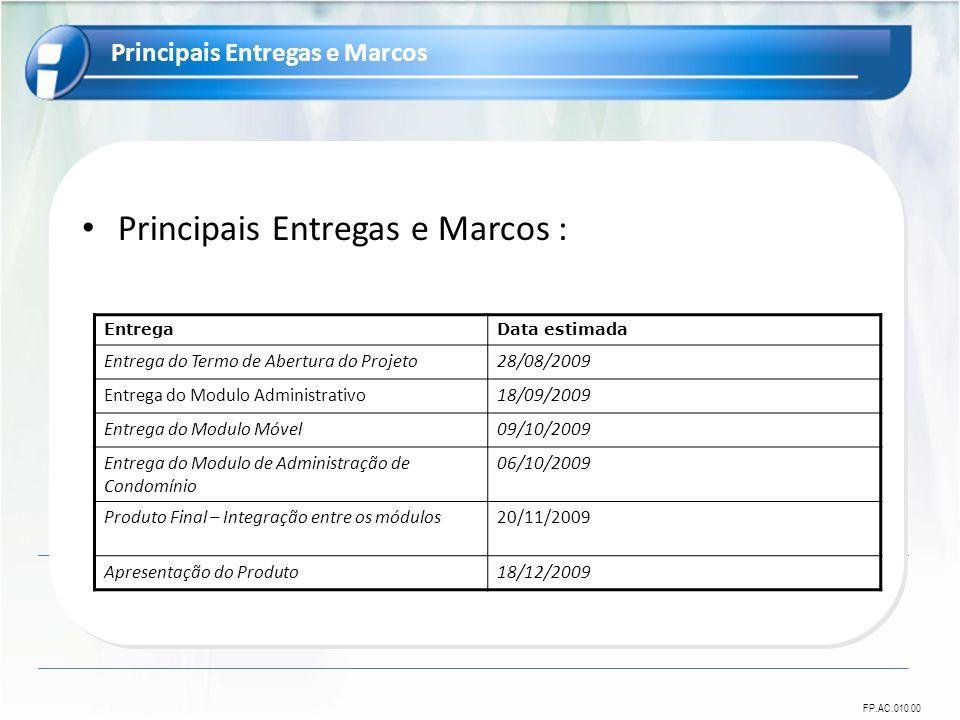 Principais Entregas e Marcos :