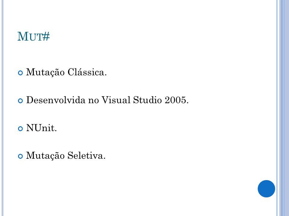 Mut# Mutação Clássica. Desenvolvida no Visual Studio 2005. NUnit.