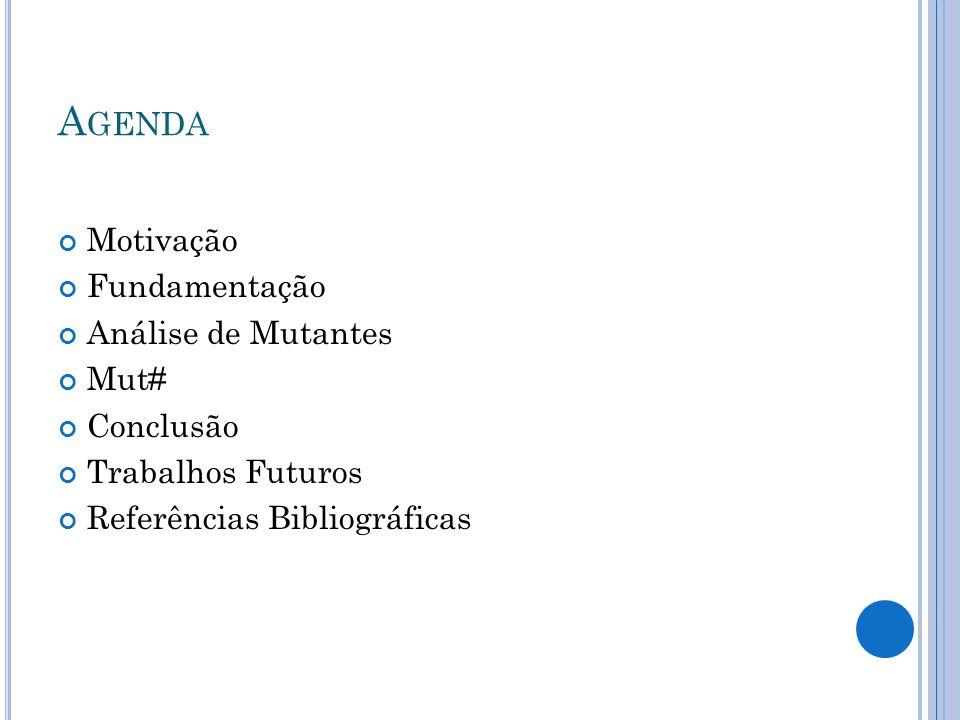 Agenda Motivação Fundamentação Análise de Mutantes Mut# Conclusão