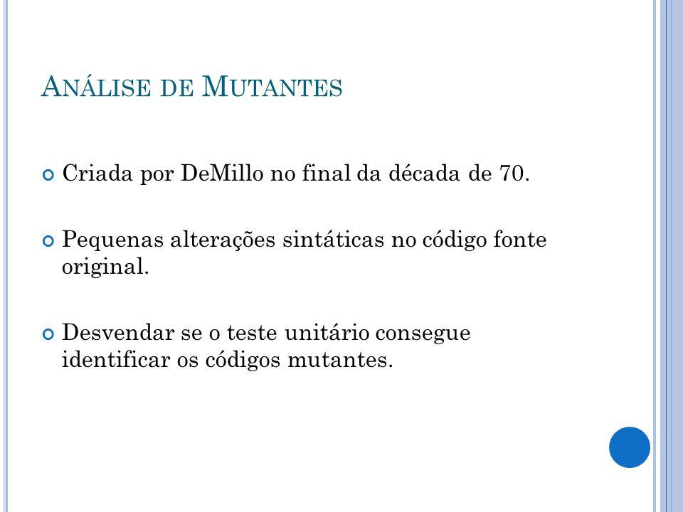 Análise de Mutantes Criada por DeMillo no final da década de 70.
