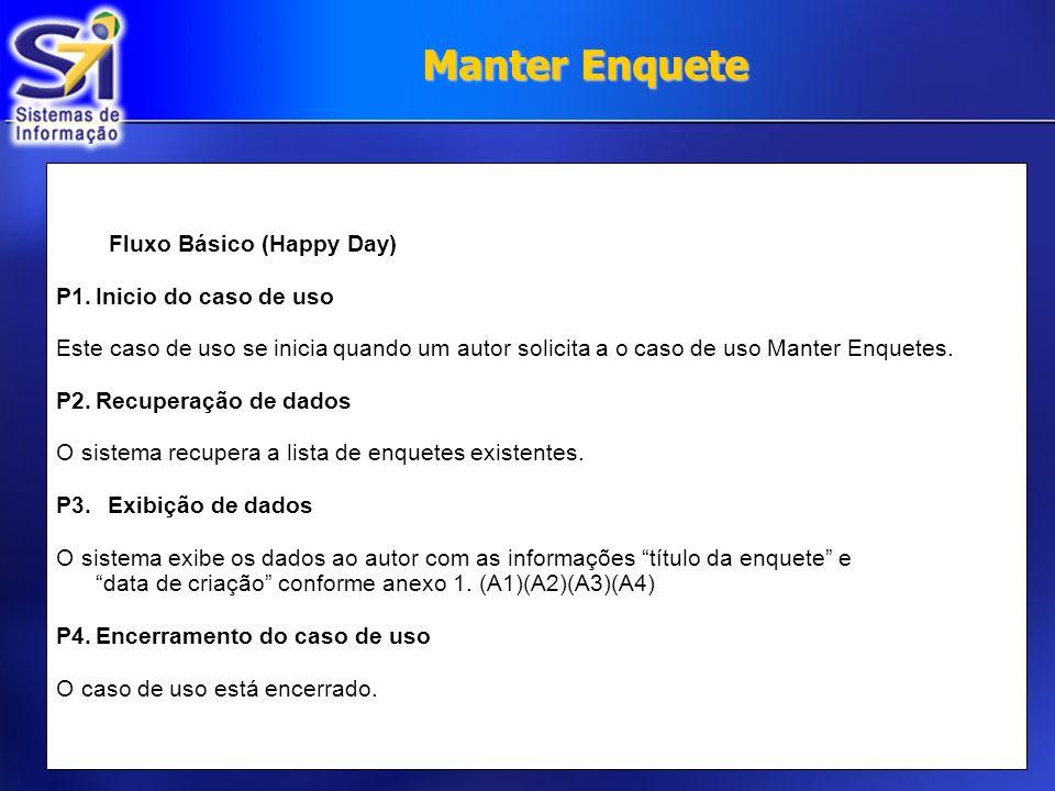Manter Enquete Fluxo Básico (Happy Day) P1. Inicio do caso de uso