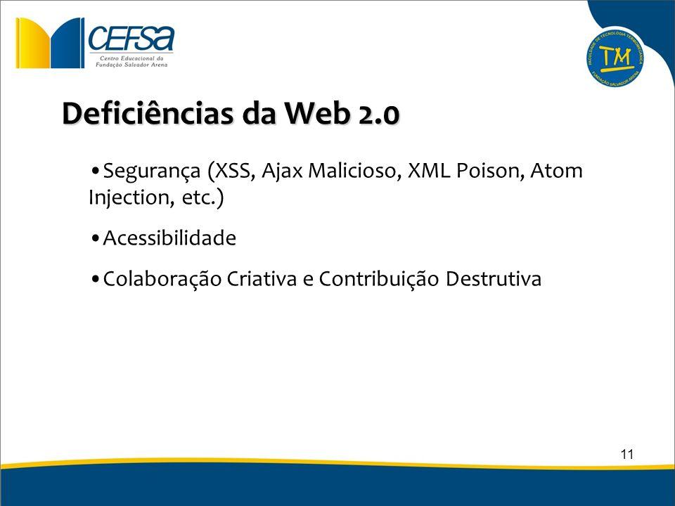 Deficiências da Web 2.0 Segurança (XSS, Ajax Malicioso, XML Poison, Atom Injection, etc.) Acessibilidade.