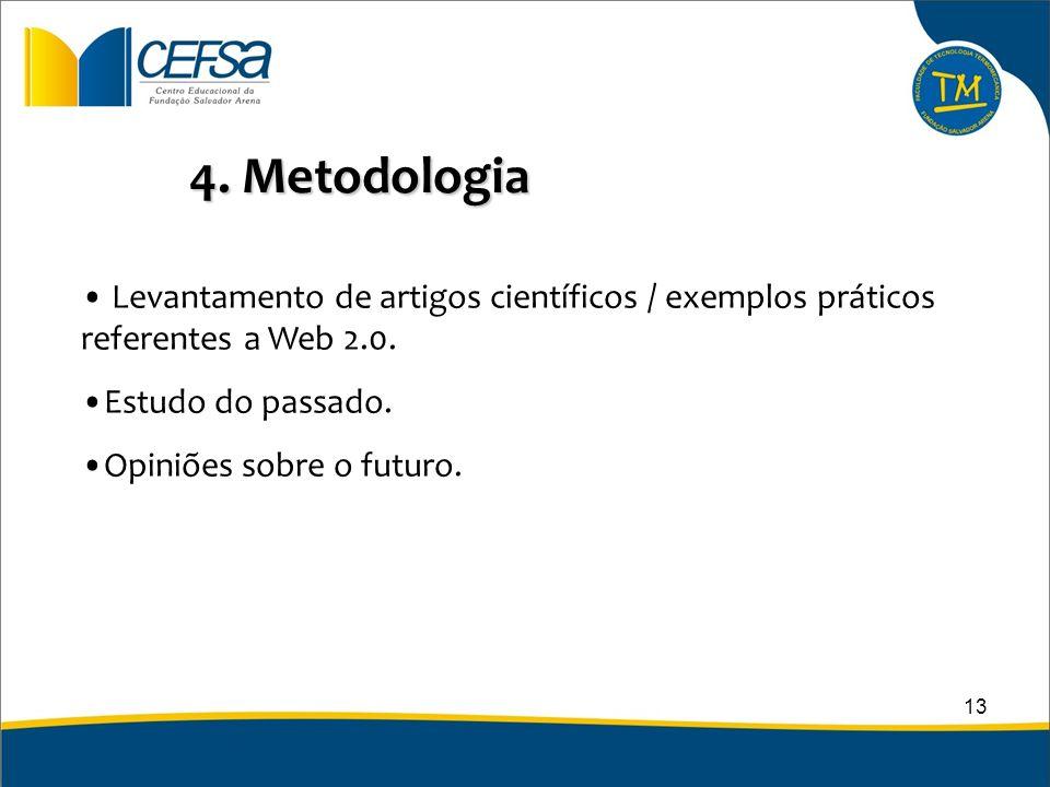 4. Metodologia Levantamento de artigos científicos / exemplos práticos referentes a Web 2.0. Estudo do passado.