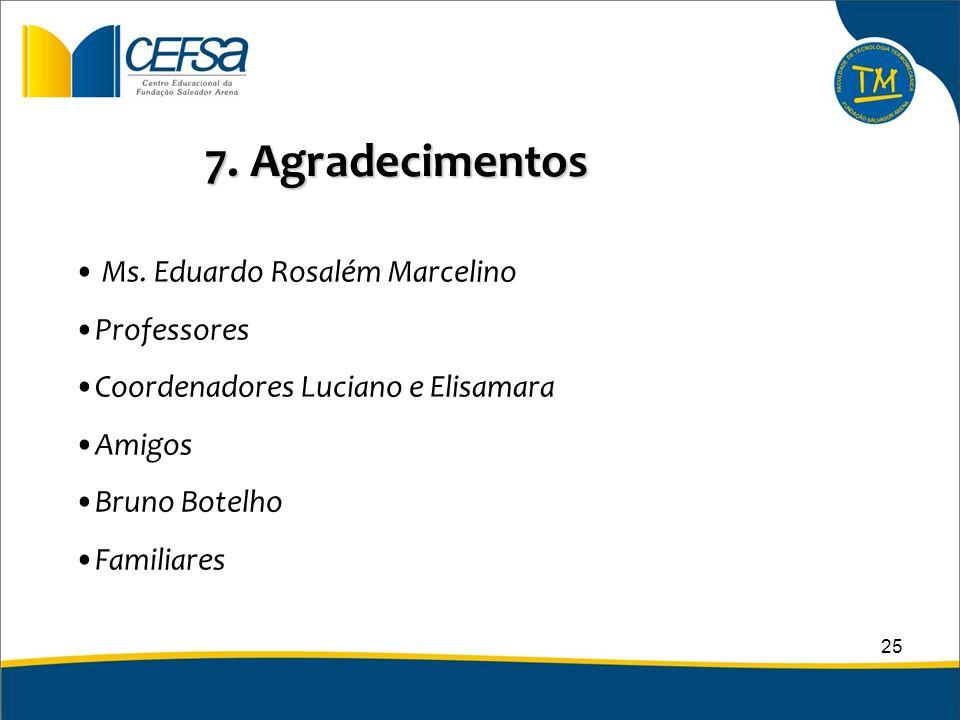 7. Agradecimentos Ms. Eduardo Rosalém Marcelino Professores