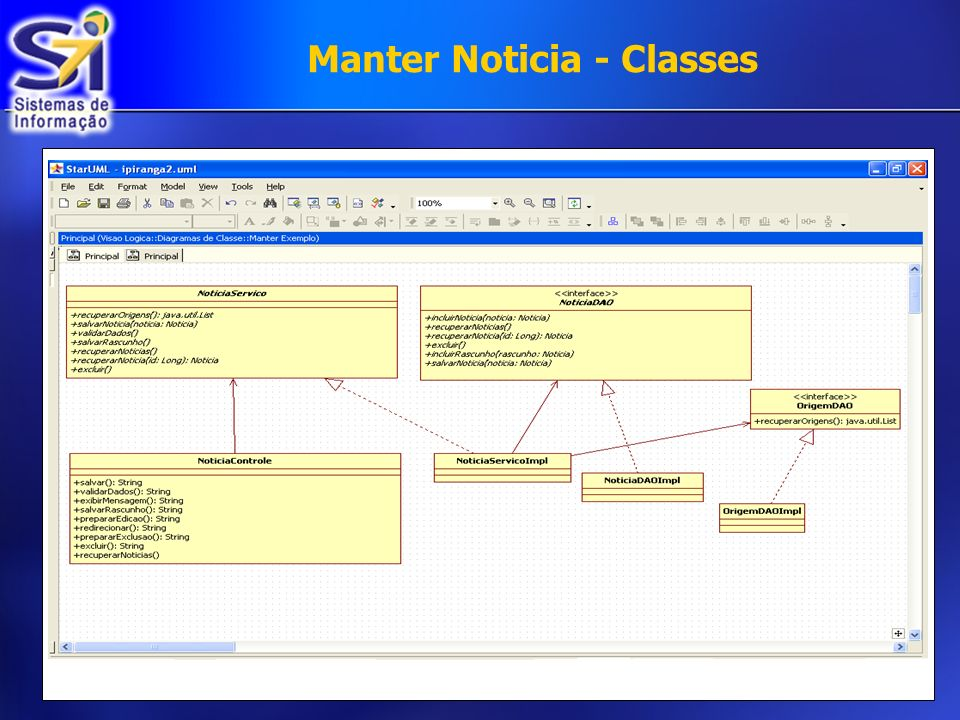 Manter Noticia - Classes