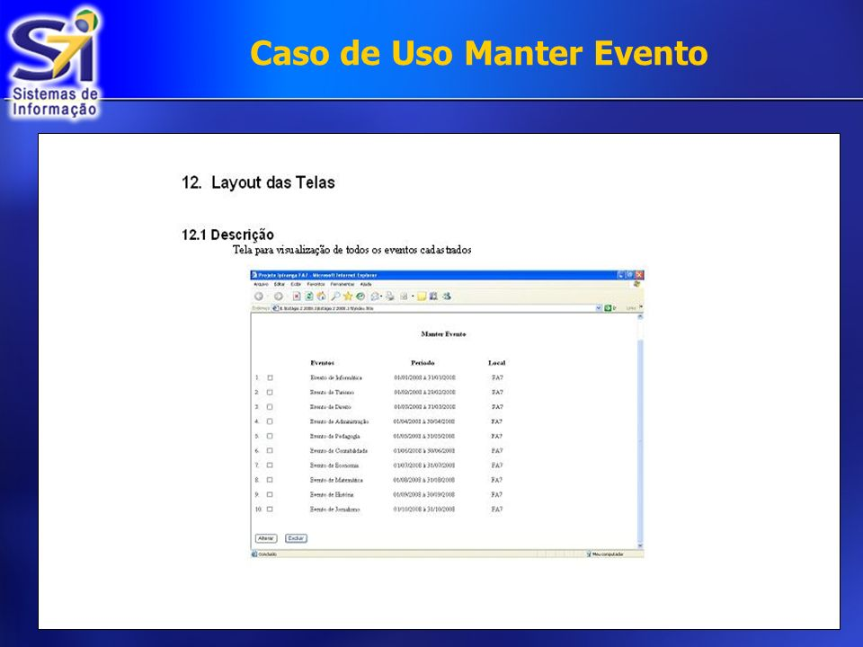 Caso de Uso Manter Evento