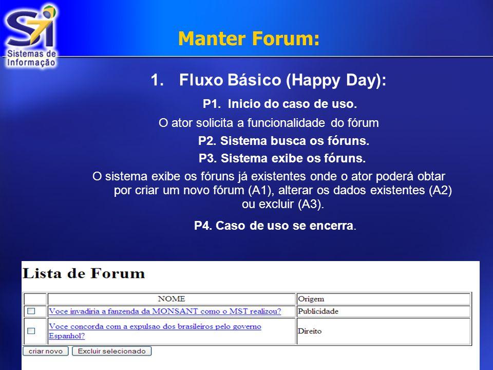 Fluxo Básico (Happy Day): P2. Sistema busca os fóruns.