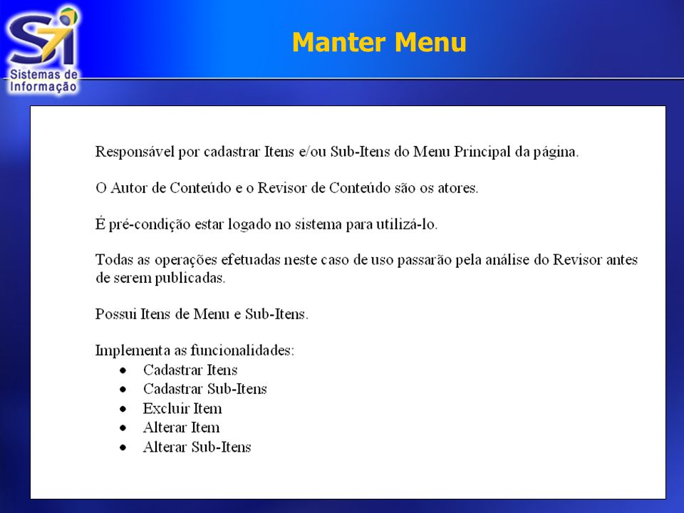 Manter Menu €