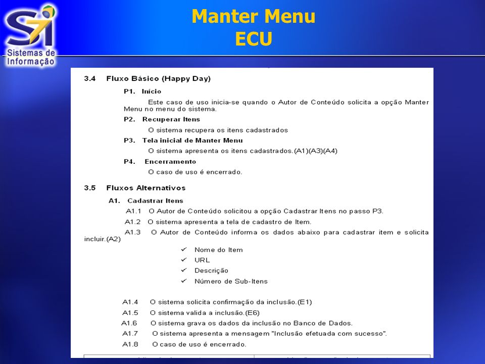 Manter Menu ECU