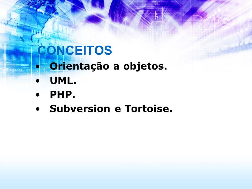 CONCEITOS Orientação a objetos. UML. PHP. Subversion e Tortoise.
