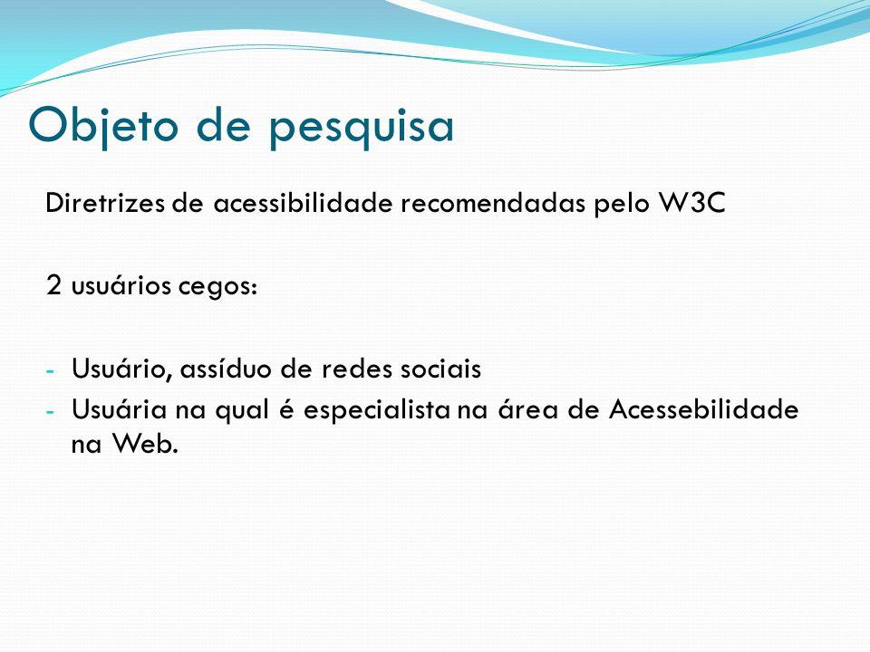 Objeto de pesquisa Diretrizes de acessibilidade recomendadas pelo W3C