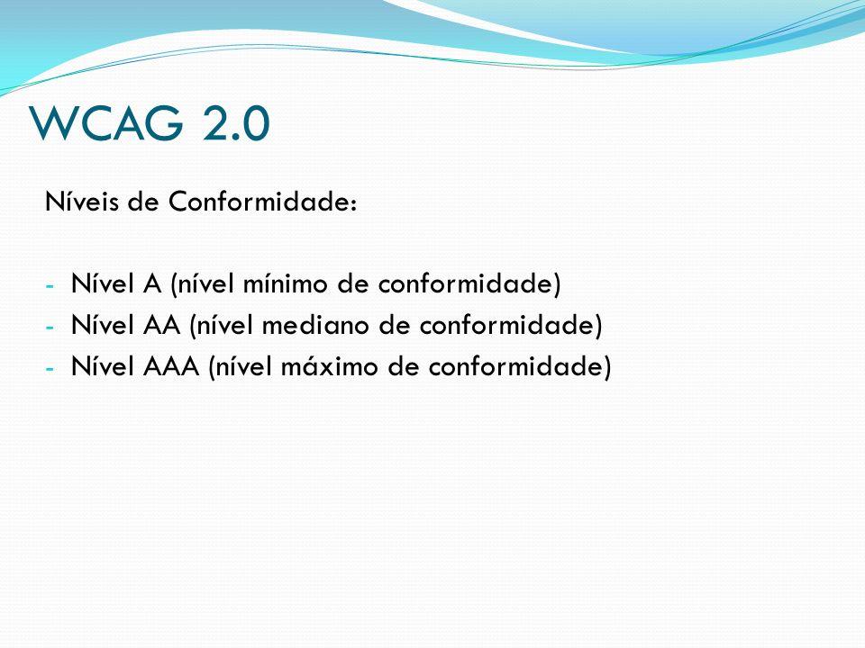 WCAG 2.0 Níveis de Conformidade: