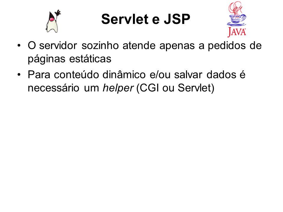 Servlet e JSP O servidor sozinho atende apenas a pedidos de páginas estáticas.