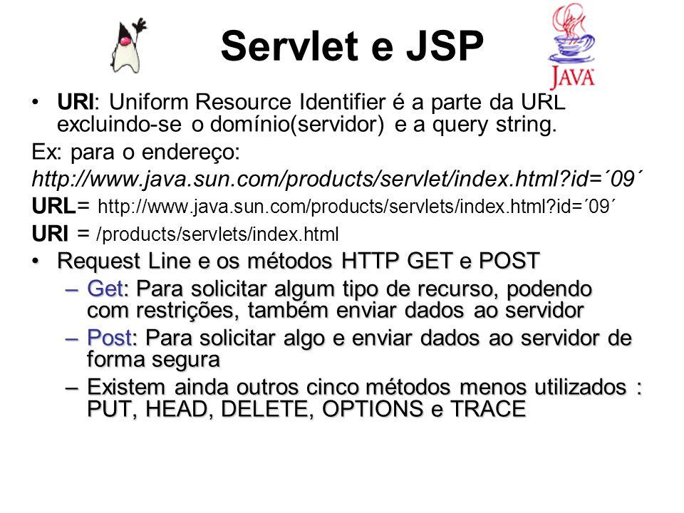 Servlet e JSPURI: Uniform Resource Identifier é a parte da URL excluindo-se o domínio(servidor) e a query string.