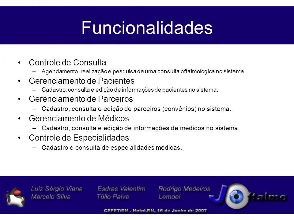 Funcionalidades Controle de Consulta Gerenciamento de Pacientes
