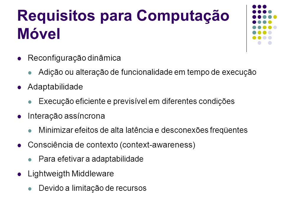 Requisitos para Computação Móvel