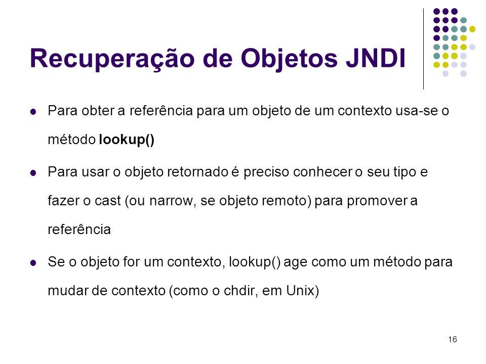 Recuperação de Objetos JNDI