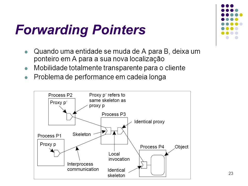 Forwarding Pointers Quando uma entidade se muda de A para B, deixa um ponteiro em A para a sua nova localização.