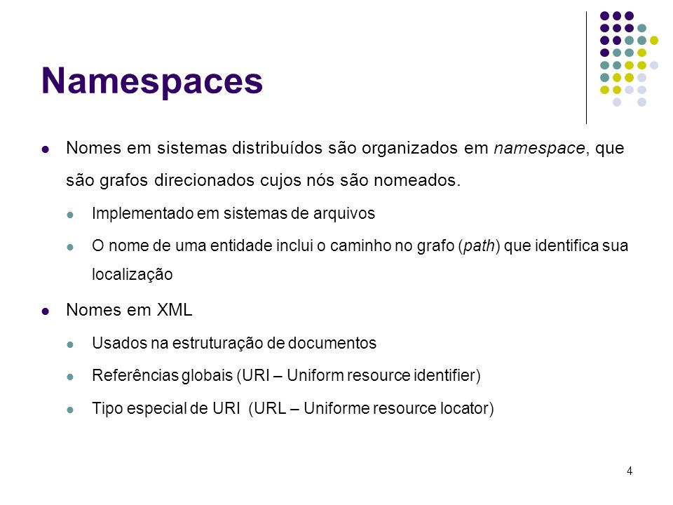 Namespaces Nomes em sistemas distribuídos são organizados em namespace, que são grafos direcionados cujos nós são nomeados.