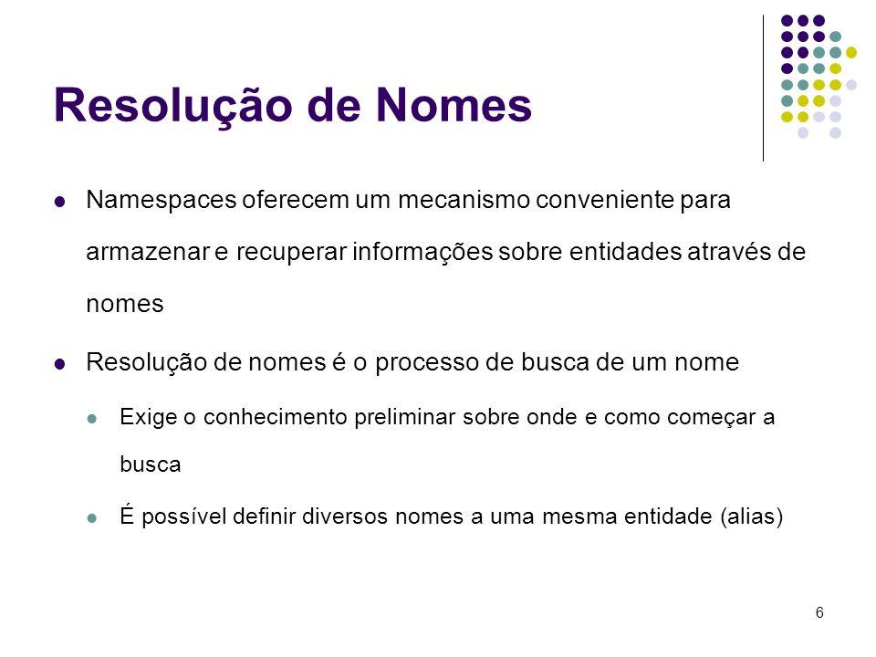 Resolução de Nomes Namespaces oferecem um mecanismo conveniente para armazenar e recuperar informações sobre entidades através de nomes.