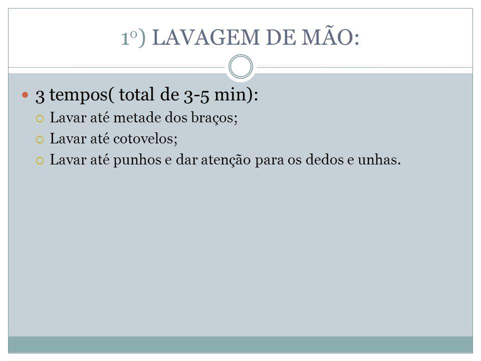1o) LAVAGEM DE MÃO: 3 tempos( total de 3-5 min):
