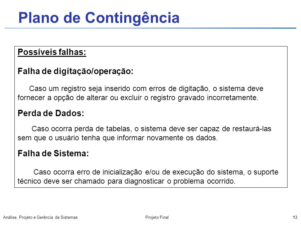 Plano de Contingência Possíveis falhas: Falha de digitação/operação: