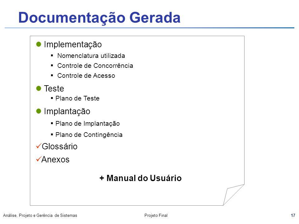 Documentação Gerada Implementação Teste Implantação Glossário Anexos