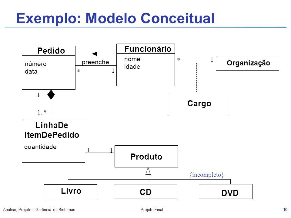 Exemplo: Modelo Conceitual