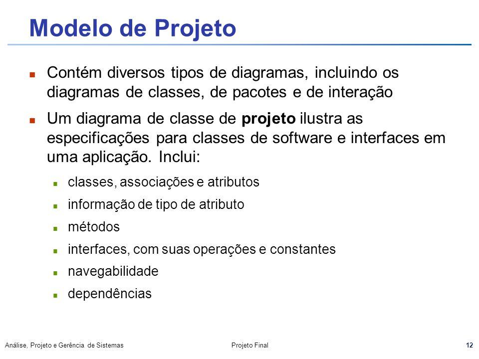 Modelo de Projeto Contém diversos tipos de diagramas, incluindo os diagramas de classes, de pacotes e de interação.