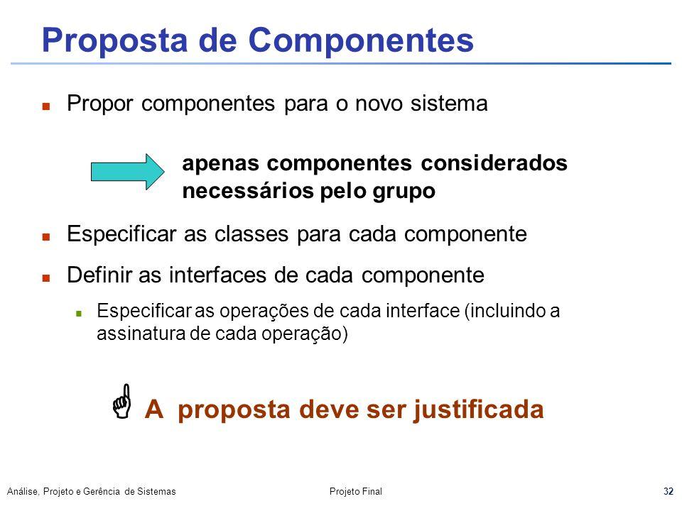 Proposta de Componentes