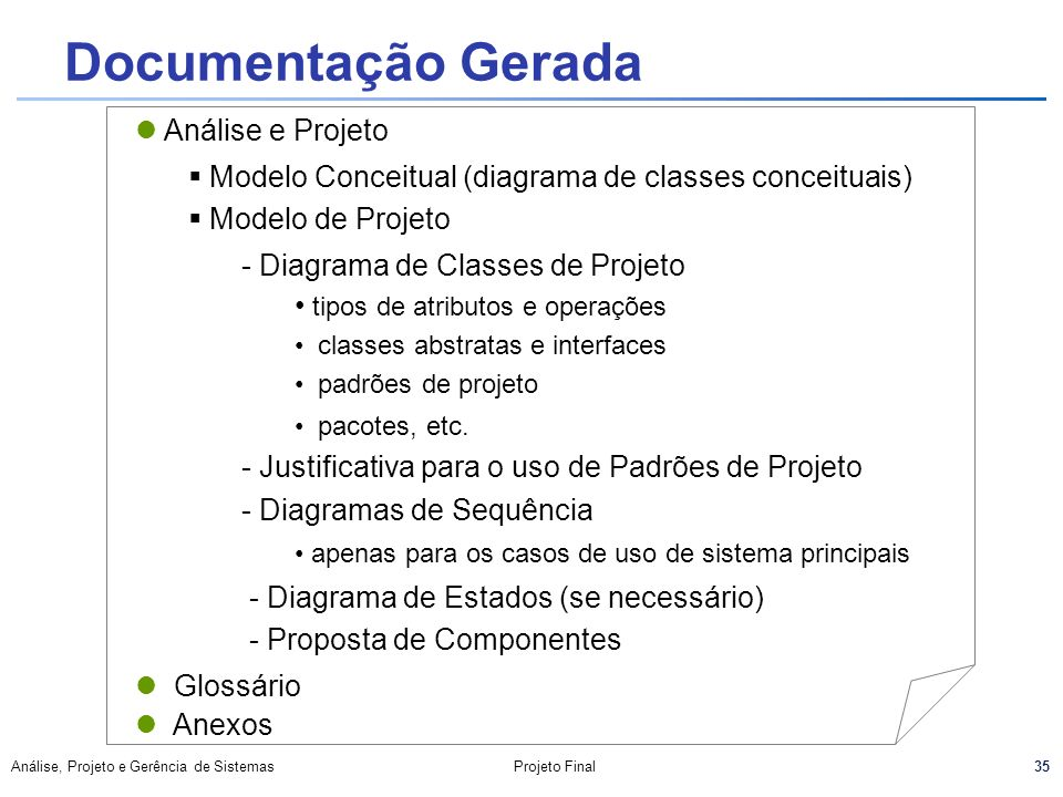 Documentação Gerada Análise e Projeto