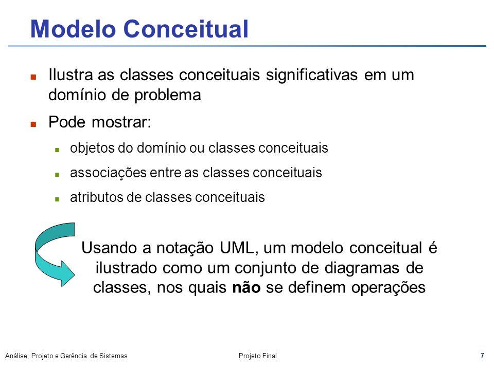 Modelo Conceitual Ilustra as classes conceituais significativas em um domínio de problema. Pode mostrar: