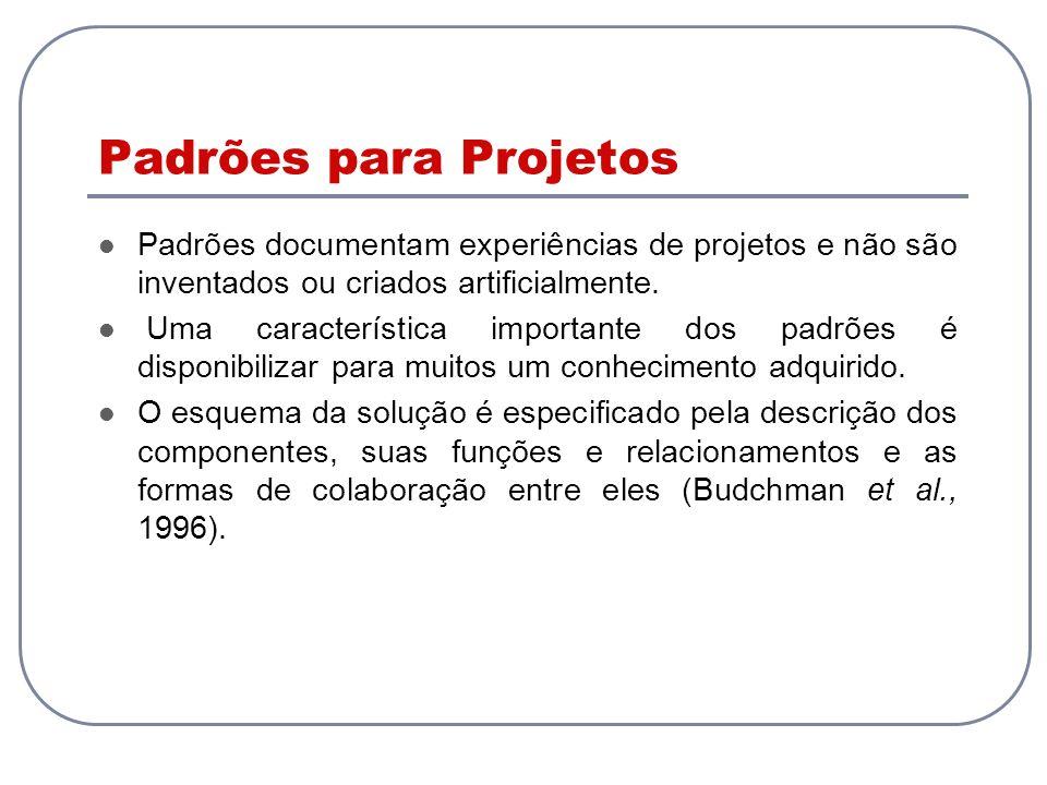 Padrões para Projetos Padrões documentam experiências de projetos e não são inventados ou criados artificialmente.
