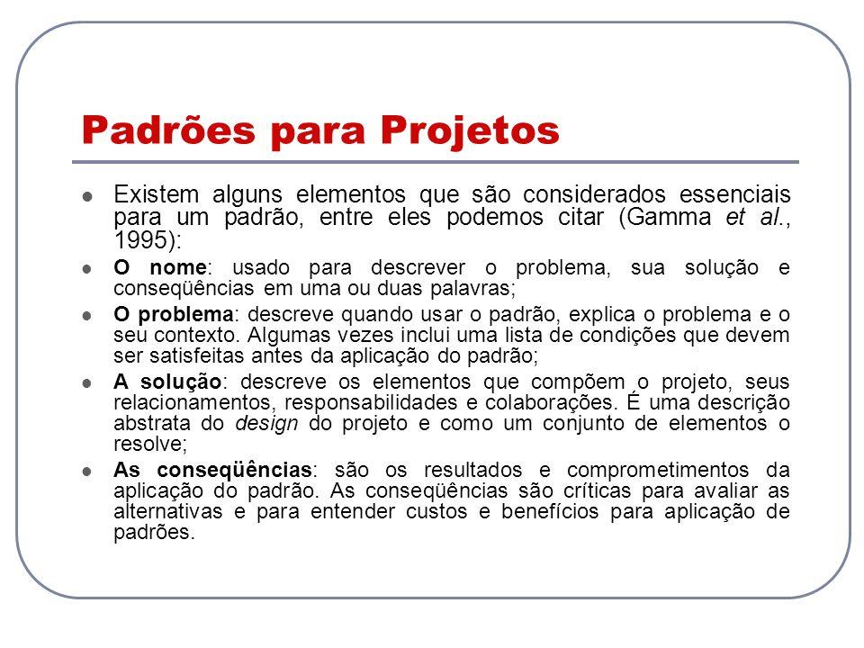 Padrões para Projetos Existem alguns elementos que são considerados essenciais para um padrão, entre eles podemos citar (Gamma et al., 1995):
