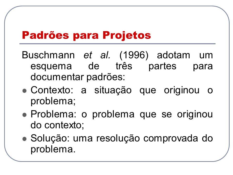 Padrões para Projetos Buschmann et al. (1996) adotam um esquema de três partes para documentar padrões: