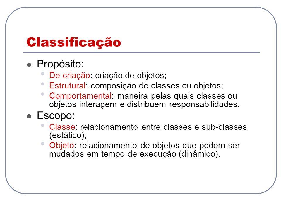 Classificação Propósito: Escopo: De criação: criação de objetos;