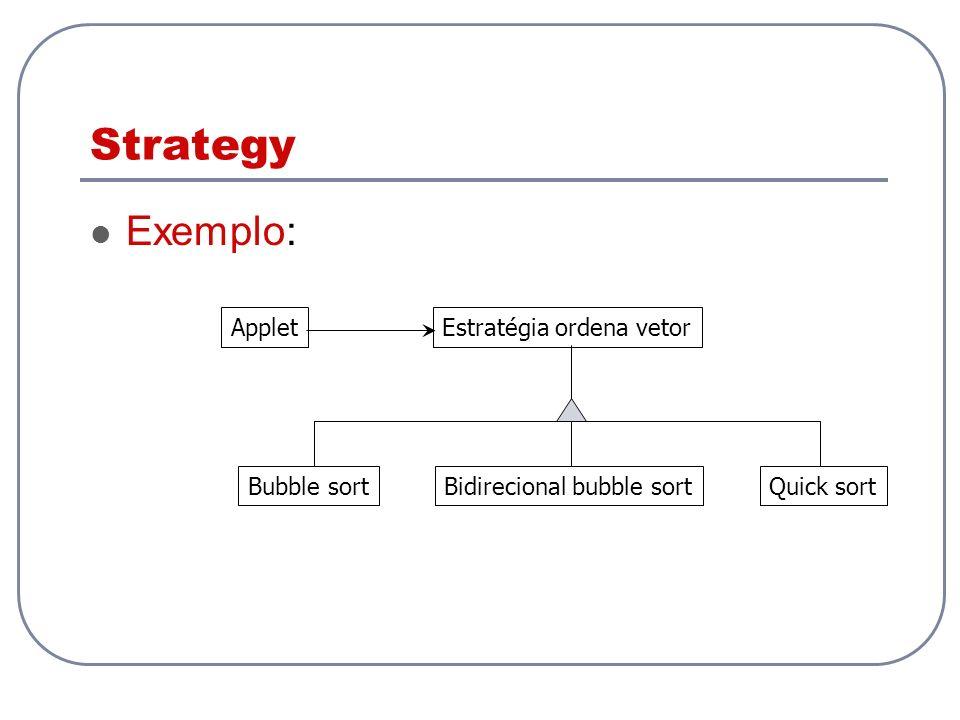Strategy Exemplo: Applet Estratégia ordena vetor Bubble sort