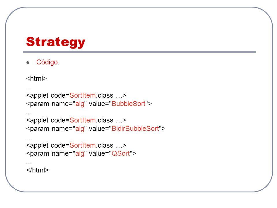Strategy Código: <html> ... <applet code=SortItem.class …>